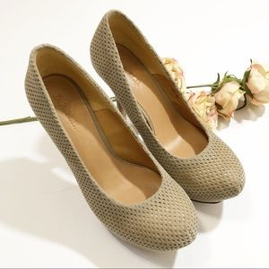 L.A.M.B. Perforated Nude Leather Upper Heels